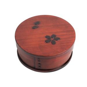 木製 一段 丸型   さくら 木目 バンド付き 曲げわっぱ 弁当箱