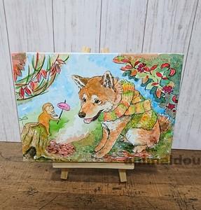 キャンバスアート 柴犬 焼き芋とおさる c-28