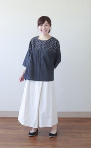 Square Dot Embroidery Combi Blouse