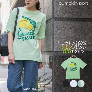 [ 2020NewItem ] Korea Cotton Front Lemon Print Big T-shirt