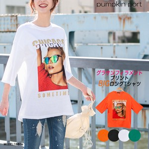 [ 2020NewItem ] Korea Cotton Jersey Stretch Front lame Print Big Long T-shirt