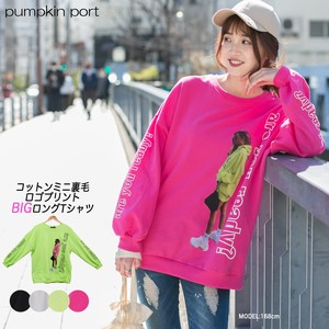 [ 2020NewItem ] Korea Cotton Fleece Front Photo Print Big Long T-shirt