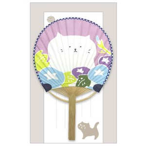 Japanese Fan Greeting Card Cat Morning Glory