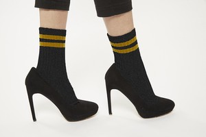 FAKUI LINE LAME Socks BLACK x YELLOW