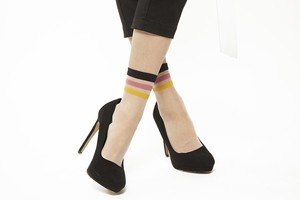 FAKUI LINE SEE-THROUGH Socks PINK YELLOW