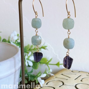 Natural stone Aquamarine Iolite Pierced Earring