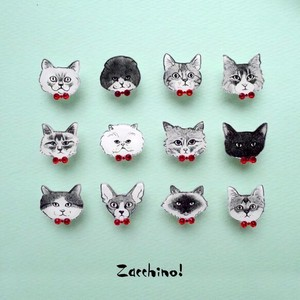 Cat pin Brooch Red