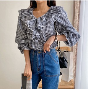 [ 2020NewItem ] Gingham Check Frill Blouse
