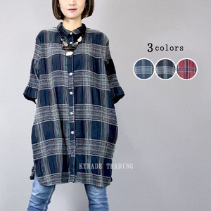 [ 2020NewItem ] Crepe Checkered Shirt Tunic