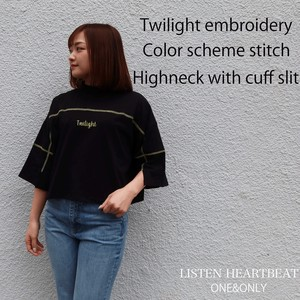 S/S Jersey Stretch Embroidery Color Scheme Cuff High Neck Three-Quarter Length T-Shirt