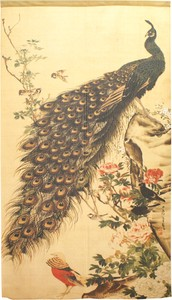 Build-To-Order Manufacturing Japanese Noren Curtain Peacock Japanese Style