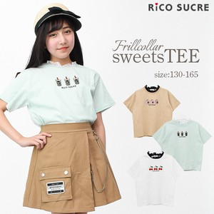 Frill Lace Attached Sweets T-shirt Short Sleeve Girl Children's Clothing