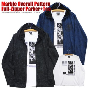 [ 2020NewItem ] Marble Repeating Pattern Jersey Stretch Street Hoody T-shirt Set