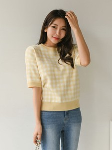 [ 2020NewItem ] Checkered Short Sleeve Knitted