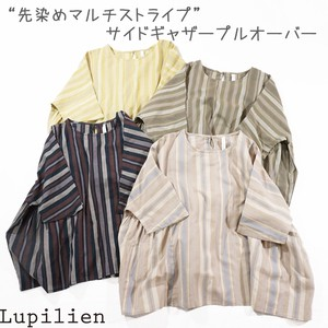 [ 2020NewItem ] Dyeing Multi Stripe Gather Pullover 4 Colors