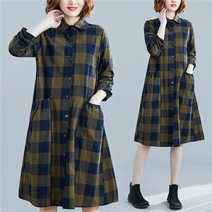 Ladies Knee-high Tunic One-piece Dress Checkered Long Shirt Long Sleeve