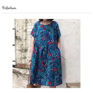 [ 2020NewItem ] Material Dyeing With Vegetables Short Sleeve One-piece Dress