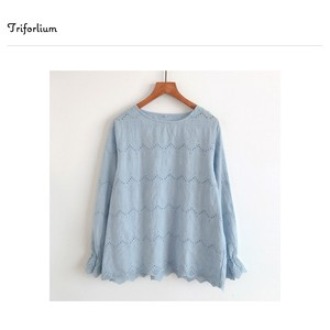 [ 2020NewItem ] 4 Colors Wrap Embroidery Long Sleeve Cotton Blouse