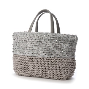 Cut Beads Attached Hand Knitting Tote Bag