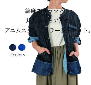 S/S Denim Stand-fall Collar Jacket