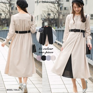 [ 2020NewItem ] Wrap Pleats Skirt Belt Bi-Color Long One-piece Dress