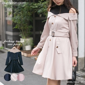 [ 2020NewItem ] Plain Twill Docking Off-Shoulder Trench Knee-high One-piece Dress