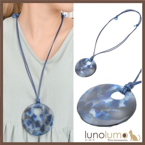 Necklace Pendant Ladies Wood Marble Marble Blue Metal