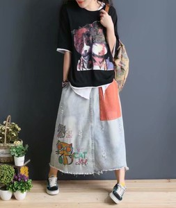 Ladies S/S Embroidery Skirt Old Applique Denim Skirt