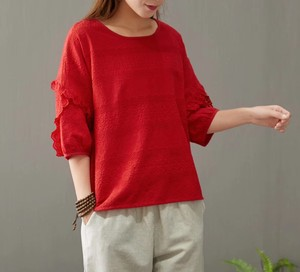 Neck Embroidery Cotton/hemp Three-Quarter Length Ladies Top 4 Colors