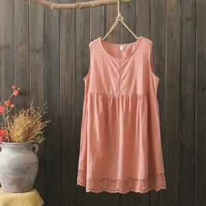 Neck Embroidery Tank Top One-piece Dress 3 Colors
