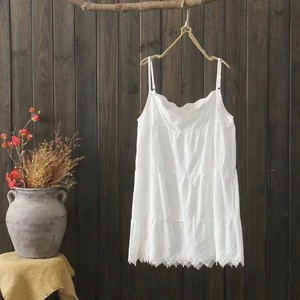 Embroidery Leisurely Inner Tank Top One-piece Dress 2 Colors