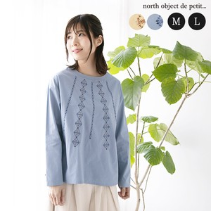 Blouse Embroidery Ladies Top Petit Long Sleeve Pullover Shirt Crew Neck
