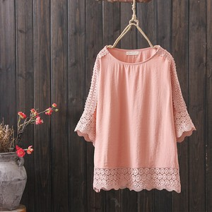 S/S Ladies Solid Color Embroidery Round Neck Shirt