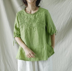 Ladies Flax Embroidery Blouse 4 Colors