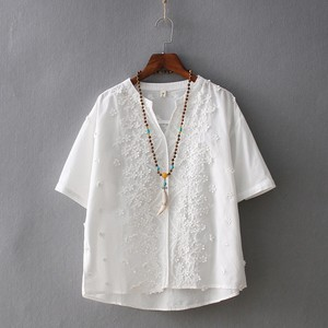 V-neck Embroidery Leisurely Short Sleeve T-shirt 5 Colors