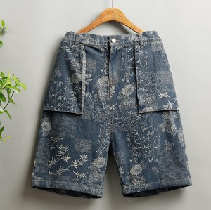 Slim Effect Denim Shor Pants Print Half Length Pants
