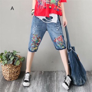 Embroidery Ladies Slim Effect 6/10Length Denim Pants 5 Colors