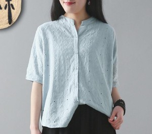 Short Sleeve Plain Shirt Open Embroidery Ladies 7 Colors