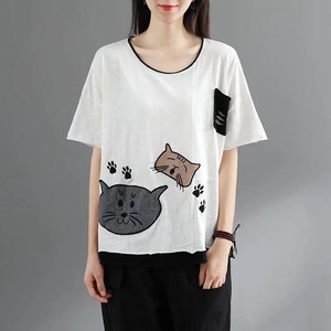 Ladies Included Embroidery Half Length T-shirt 5 Colors