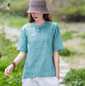 Plain Embroidery Short Sleeve Blouse 4 Colors