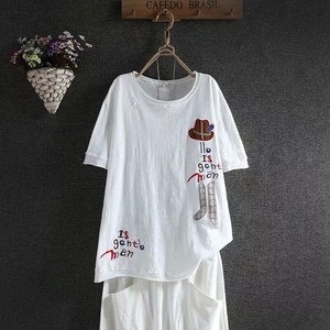 Neck Embroidery Short Sleeve Leisurely T-shirt Outerwear Ladies 5 Colors