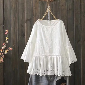 Solid Embroidery Open Leisurely Blouse