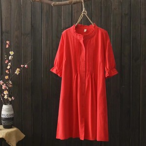 Processing Short Sleeve Long Type Blouse 2 Colors