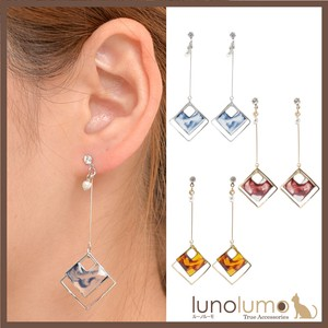 Pierced Earring Ladies Marble Marble Watercolor Rhombus Metal Gold Silver Drop