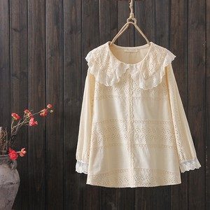 Plain Embroidery Round Neck Frill Ladies Shirt
