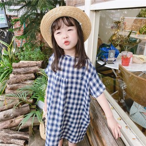 Children's Clothing One-piece Dress Checkered Kids Casual Korea