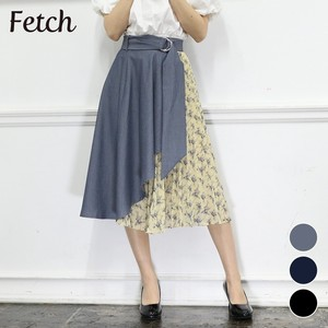 Belt Attached Wrap Floral Pattern Switching Skirt