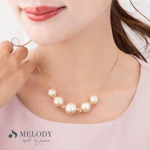 Cotton Pearl Pearl Pave Ball Necklace