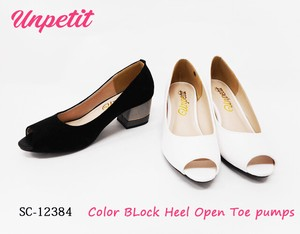 Open Toe Pumps Color Block Heel SC