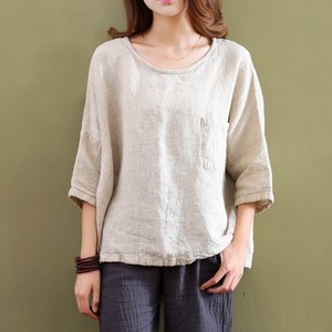 High Quality T-shirt Flax Material Leisurely Plain Cut And Sewn Ladies Top